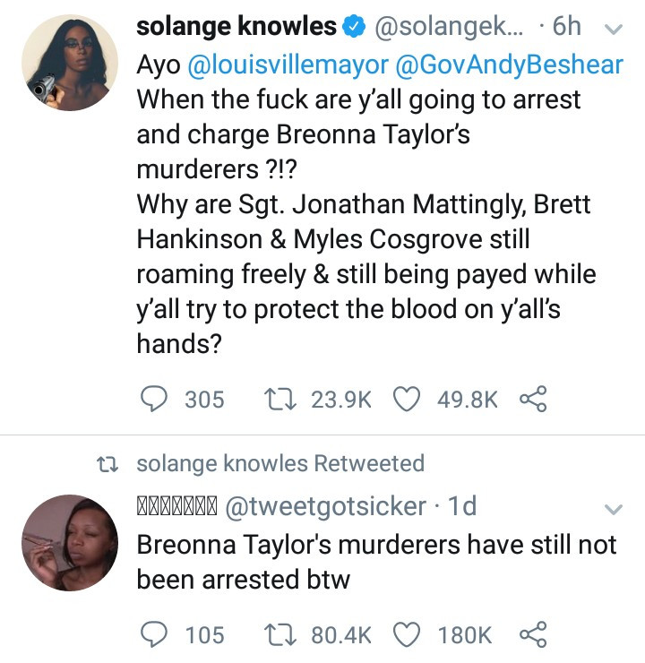 Arrest and charge her killers- Solange Knowles demands justice for Breonna Taylor, a 26-year-old Black woman recently shot dead by police