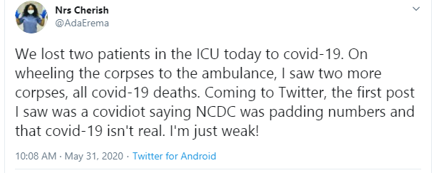 Nigerian nurse slams Twitter user who said Coronavirus is not real and also accused NCDC of padding numbers