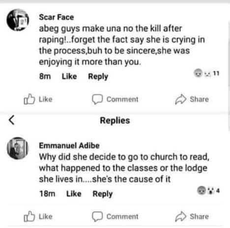 Shocking comments from some Nigerians in reaction to the rape and murder of Uwa Omozuwa