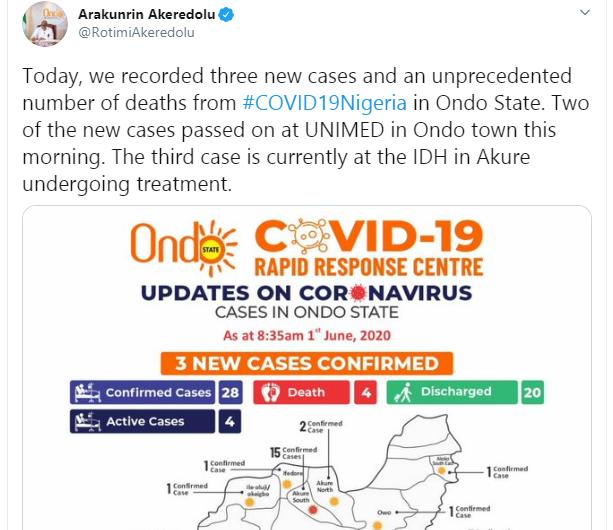 Ondo records two Coronavirus deaths
