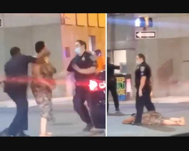 Baltimore Police  just knocked out a Black woman in downtown.