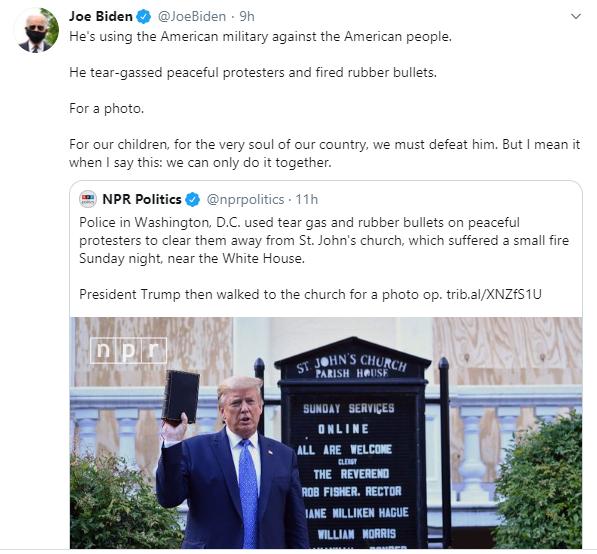 He is using American military against American people - Joe Biden slams Donald Trump