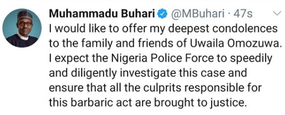 President Buhari reacts to the rape and murder of UNIBEN student, Uwaila Omozuwa