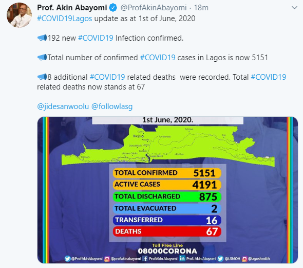 Lagos state records 8 more COVID-19 deaths