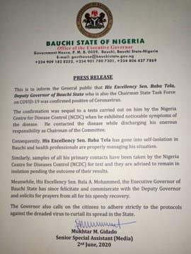 Bauchi Deputy Governor tests positive for Coronavirus