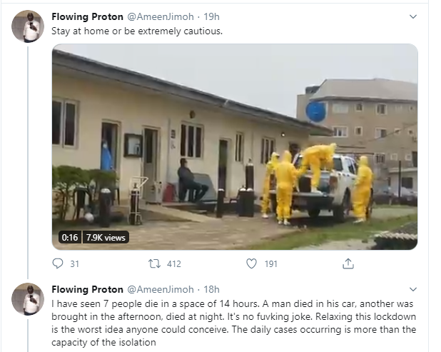 Nigerian man speaks up against relaxation of lockdown, shares video of corpses of Coronavirus patients wrapped up for burial in Lagos (video)