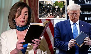 Nancy Pelosi holds bible, then quotes Bush & Obama in response to Trump