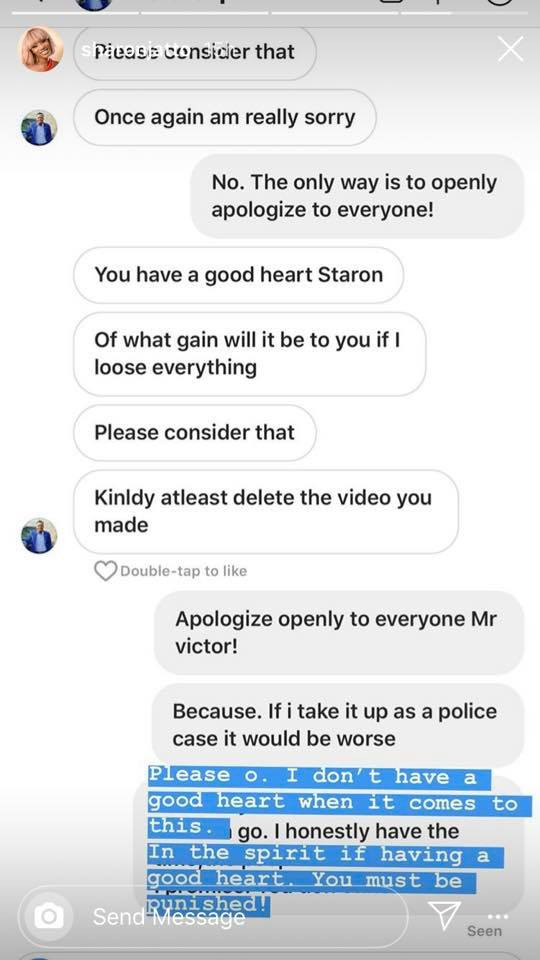 My home will be destroyed if you continue like this - Movie Producer, Victor Okpala allegedly begs Actress Sharon Jatto after being called out