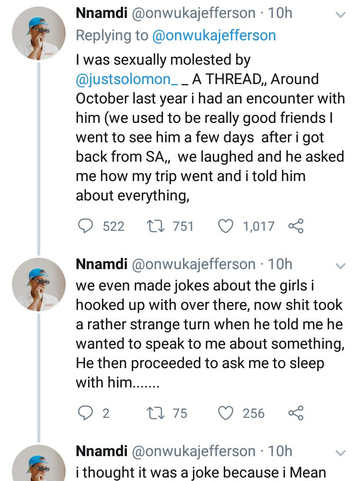 Two Nigerian men accuse a popular male model of sexual assault