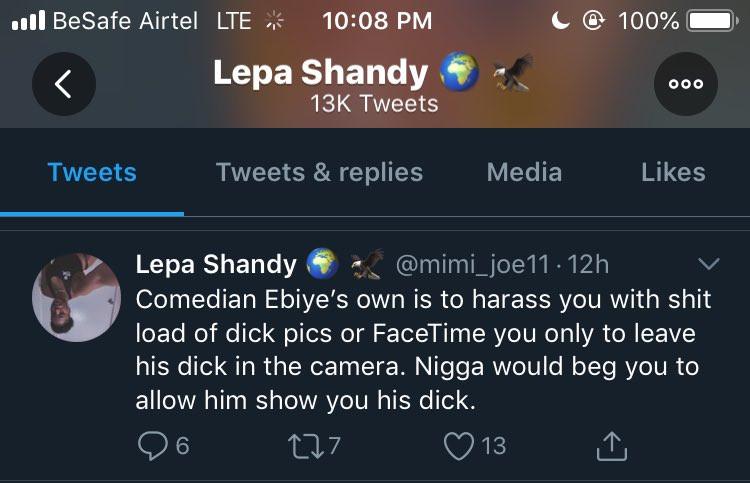 Comedian Ebiye