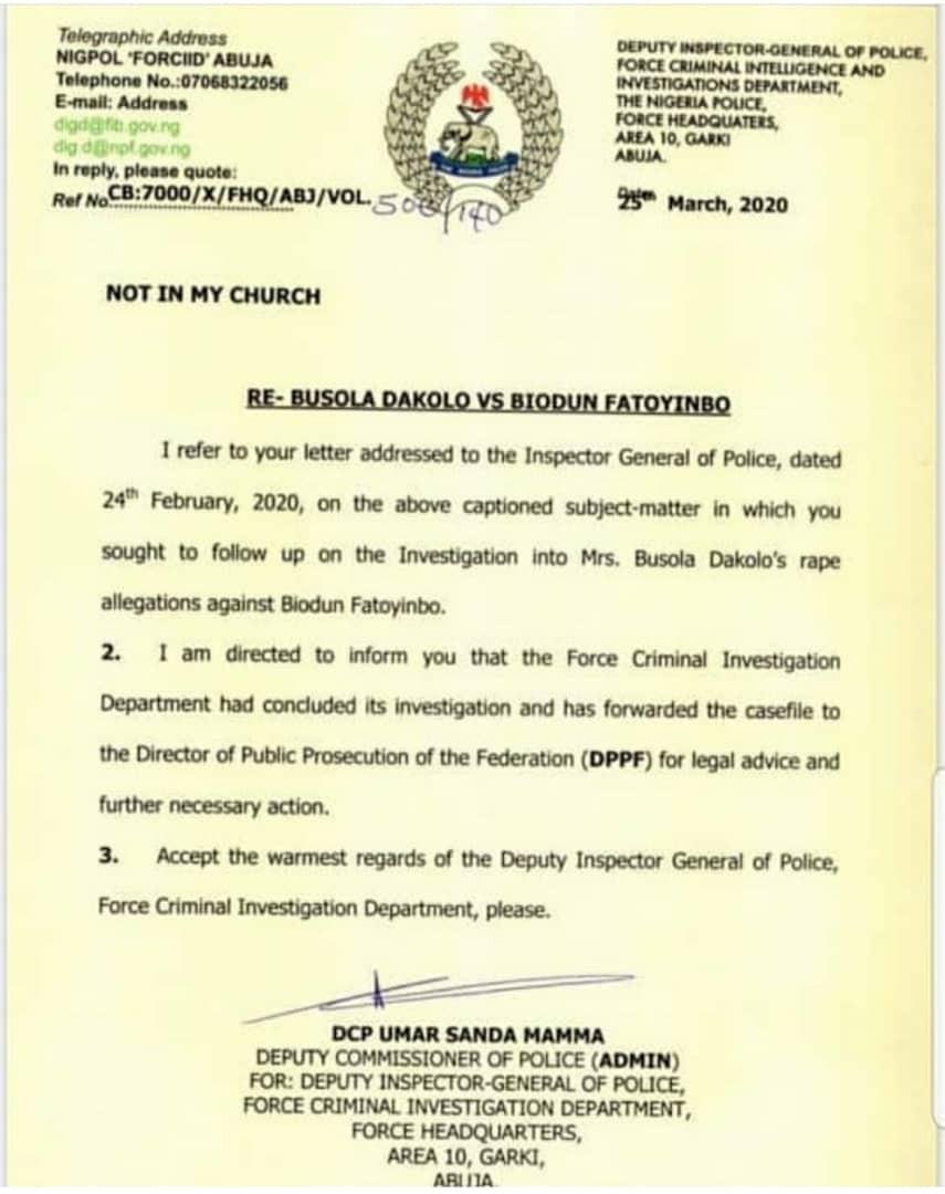 Busola Dakolo gives update on her rape case against clergyman Biodun Fatoyinbo
