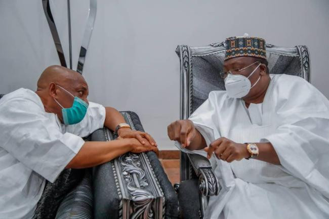 Senate President Lawan and others visit Orji Uzor Kalu after his release from Kuje prison (photos)