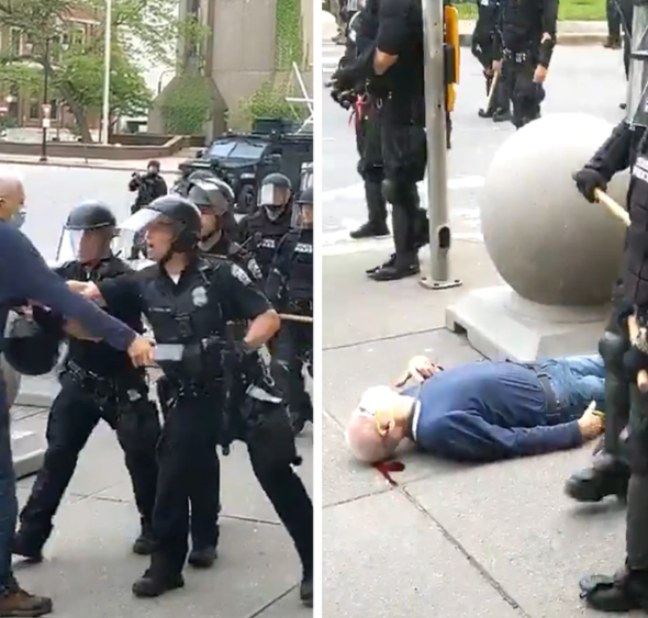Elderly man, 75, bleeds from the head after he was pushed by cops during a protest in New York (video)