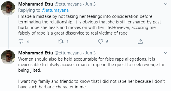 Lady accuses House of Reps aspirant Ettu Mohammed of rape. He denies it claiming she is a bitter ex who is out to blackmail him