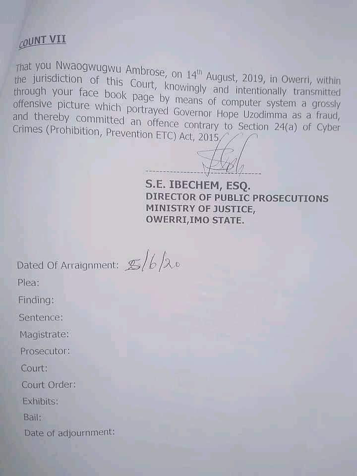 PDP official who accused Imo governor of giving land to herdsmen charged with terrorism