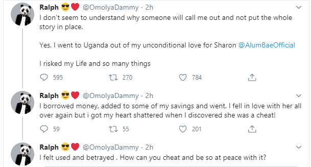 She cheated - Nigerian Twitter influencer called out by Ugandan ex-girlfriend over unpaid debt defends himself