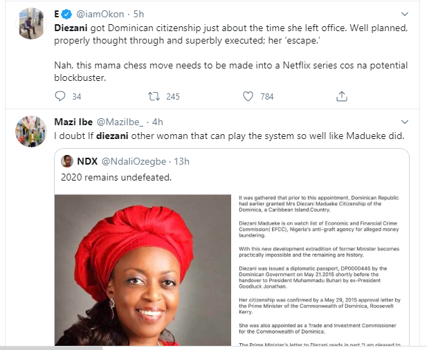Nigerians react to Diezani Alison-Madueke citizenship news