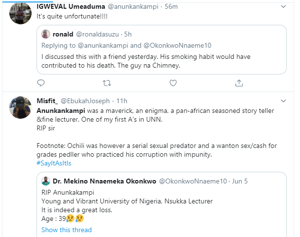 UNN lecturer called out for allegedly engaging in sex for grades after his death