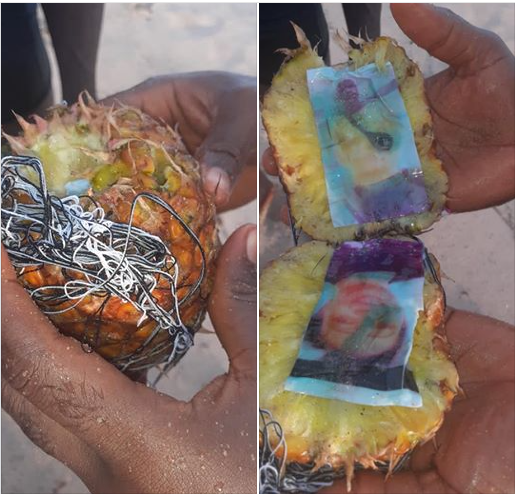 Photo of a lady and man found in a pineapple which washed ashore
