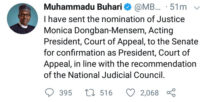 Buhari nominates Dongban-Mensem as Appeal Court President