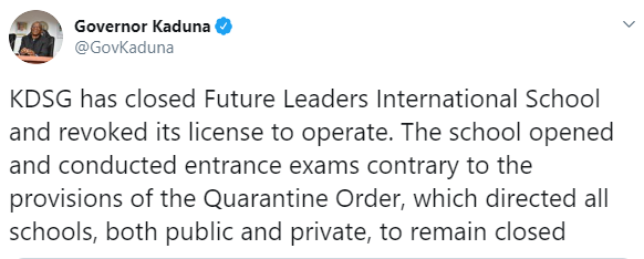 Kaduna state govt shuts down private school, revokes it