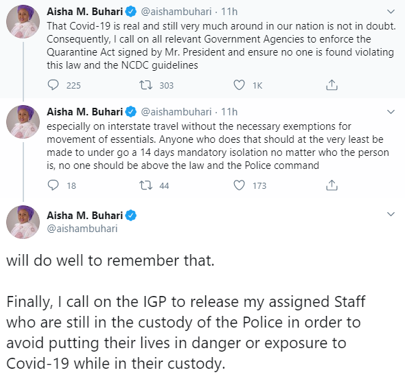 Nigerians react after Aisha Buhari asked IGP to release her aides detained ?on the orders of Buhari?s PA?