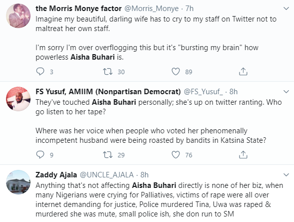 Aisha Buhari trends as she asks IGP to release her aides detained ?on the orders of Buhari?s PA?