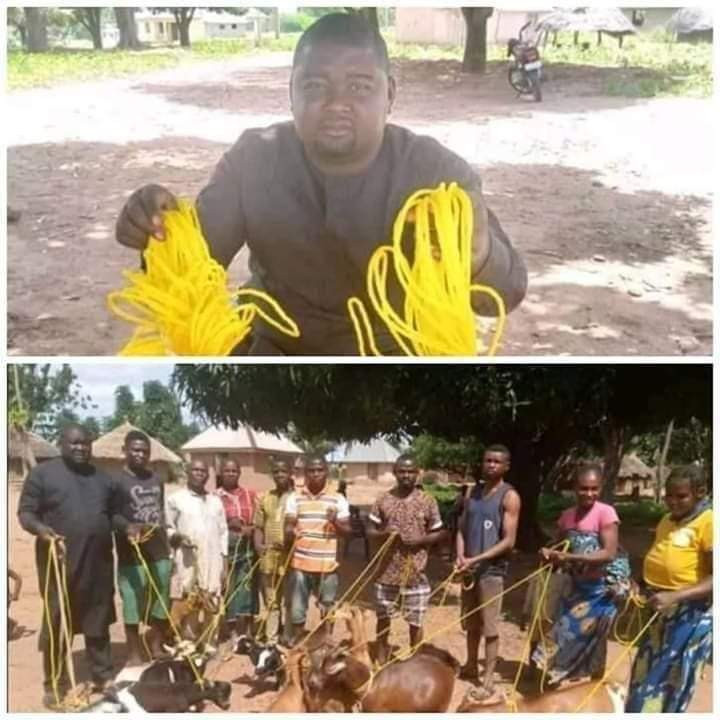 Benue State politician, Daniel Ukpera, donates ropes to his community to tie their goats (photos)