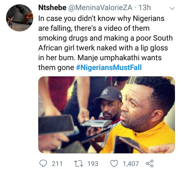 #NigeriansMustFall trends in South Africa after a video of a South African woman stripping and twerking for Nigerian men