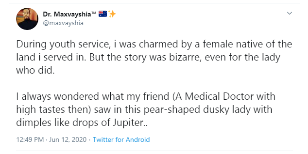 "Twitter Stories: Nigerian doctor narrates how he and his friend were ""charmed"" by two girls during NYSC"