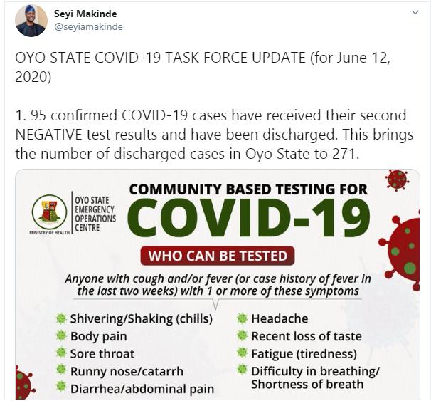 Oyo discharges 95 Coronavirus patients