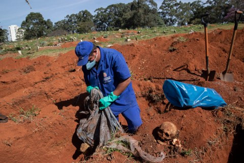 Bodies are exhumed in Brazil to make way for more dead bodies as the country