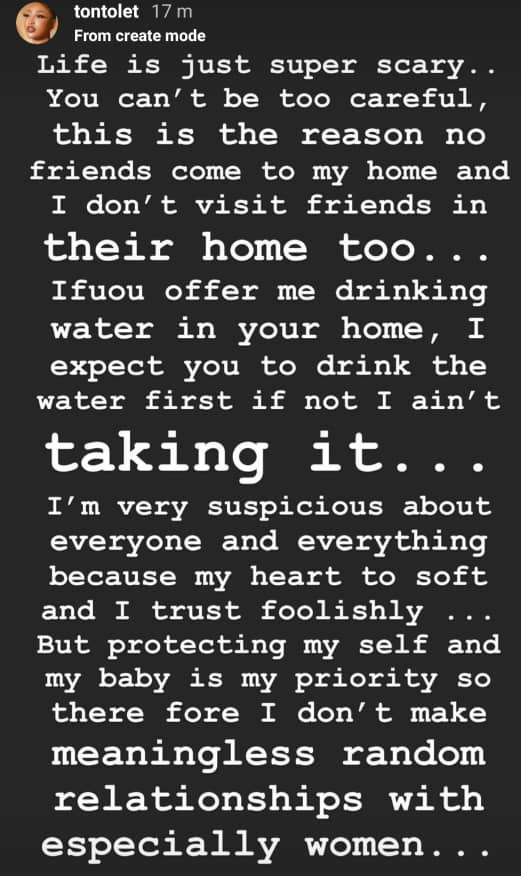 I?m suspicious about everyone and I don?t make meaningless random relationships - Tonto Dikeh writes after an Abuja resident died after being poisoned by a friend