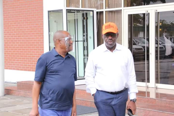 Governor Nyesom Wike hosts Governor Obaseki in Rivers state after he got disqualified by APC (photos)