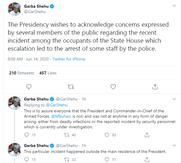 Presidency reacts to shooting at the presidential villa