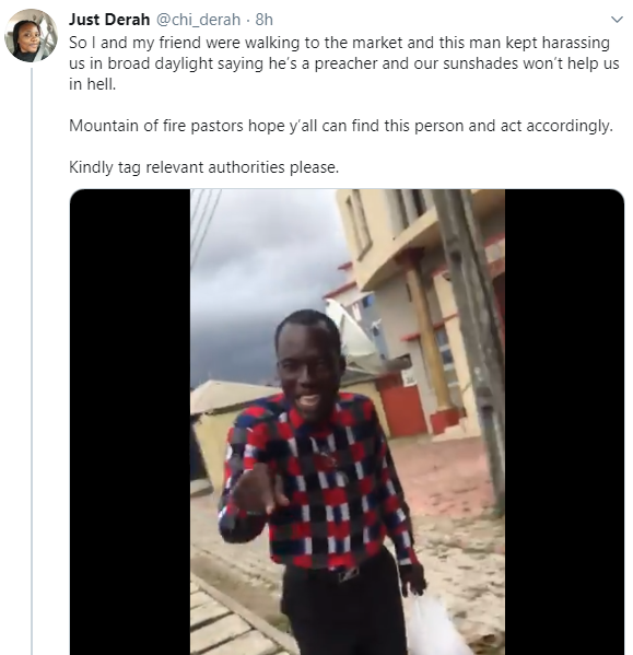 Pastor filmed harassing ladies over their dressing and threatening them with hell while doing street evangelism (video)
