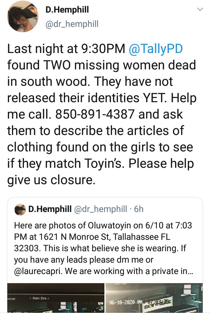 19-year-old Nigerian woman found dead after going missing in Florida following her tweets about being sexually assaulted