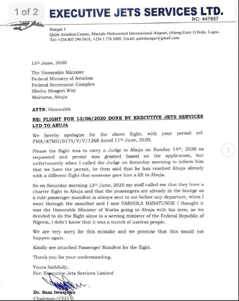 Executive Jets Chairman letter sent to the Minister of Aviation