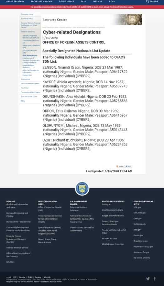 U.S. sanctions 6 Nigerian cyber criminals for stealing $6m from U.S. businesses and individuals