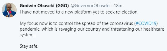 I have not moved to a new platform yet- Governor Godwin Obaseki