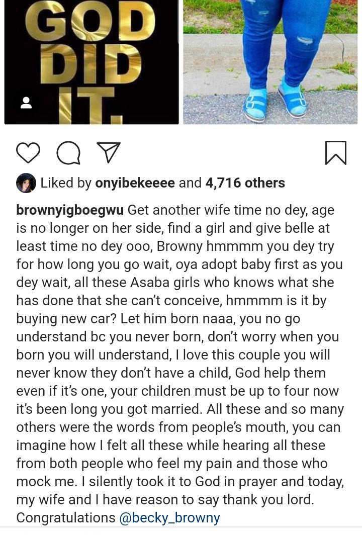 Actor, Brown Igboegwu narrates how he was mocked and advised to get another woman pregnant as he and his wife welcome a child after 10 years of marriage