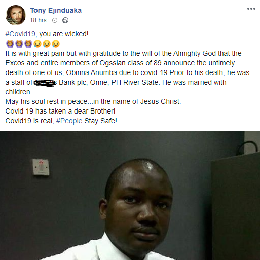 Nigerian man mourns his friend who recently died of COVID-19 in Rivers state