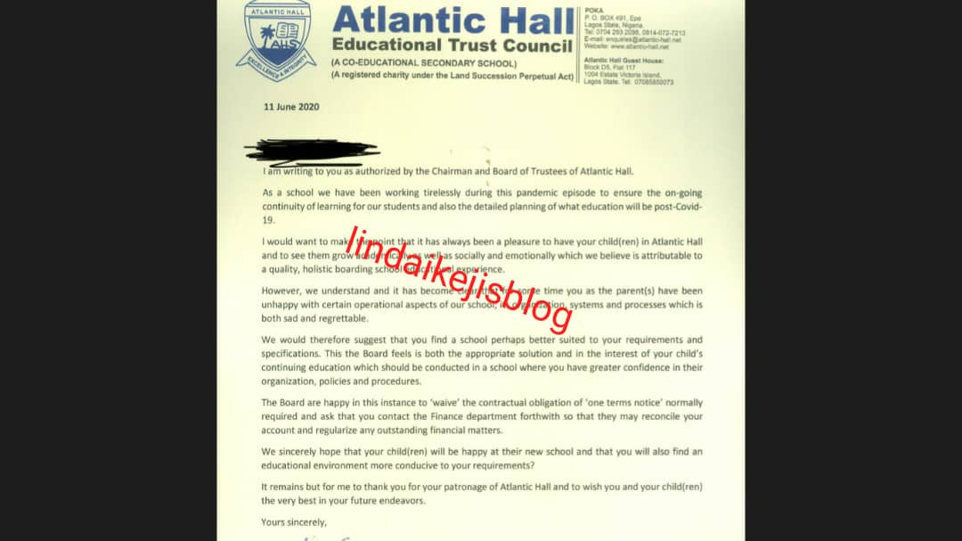 Parents accuse Atlantic Hall School of demanding a monthly fee of N195,000 for online classes and threatening parents who refuse to comply