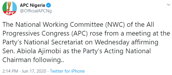 APC National Working Committee affirms Ajimobi as its Acting National Chairman