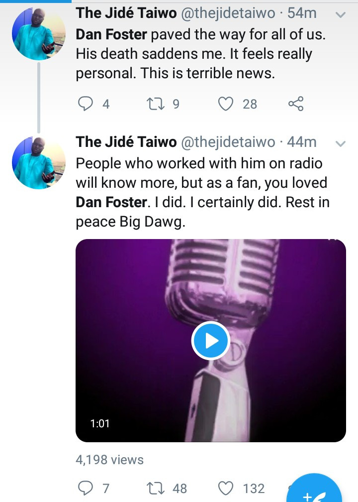 Nigerians mourn as radio personality, Dan Foster dies