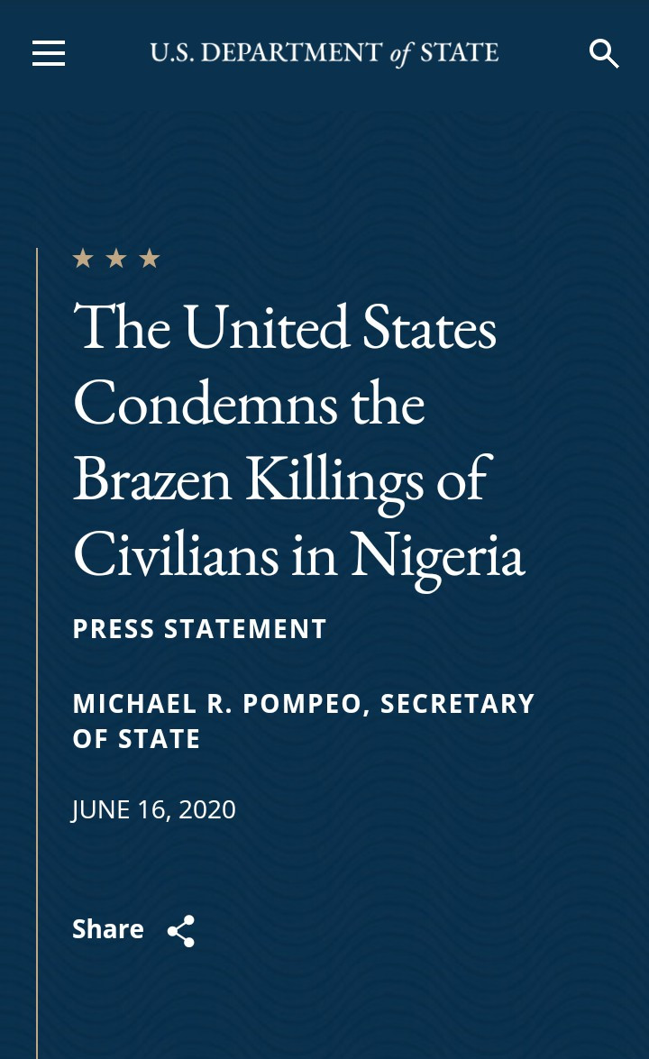"U.S condemns ""brazen killings in Nigeria"" and urges FG to do more to protect civilians"