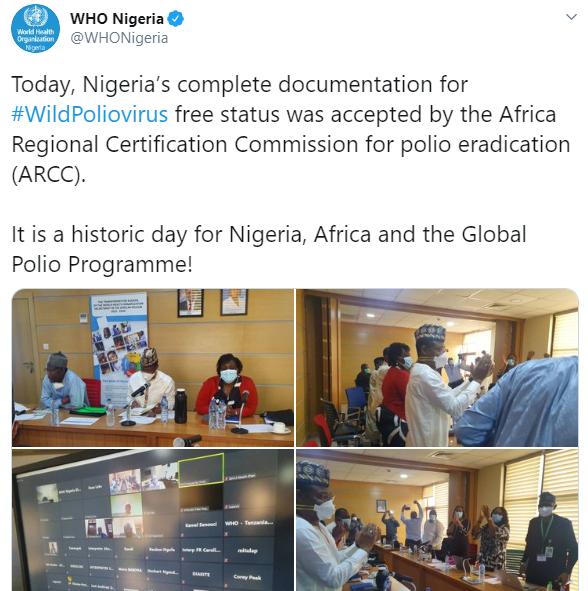 WHO declares Nigeria free of wild polio