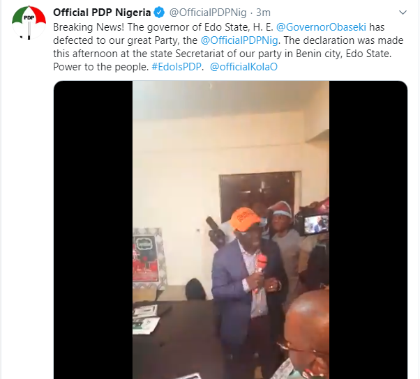 Governor Obaseki joins PDP