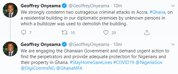 Minister of Foreign Affairs, Geoffrey Onyeama, reacts as Nigerian Embassy staff quarters is demolished in Ghana