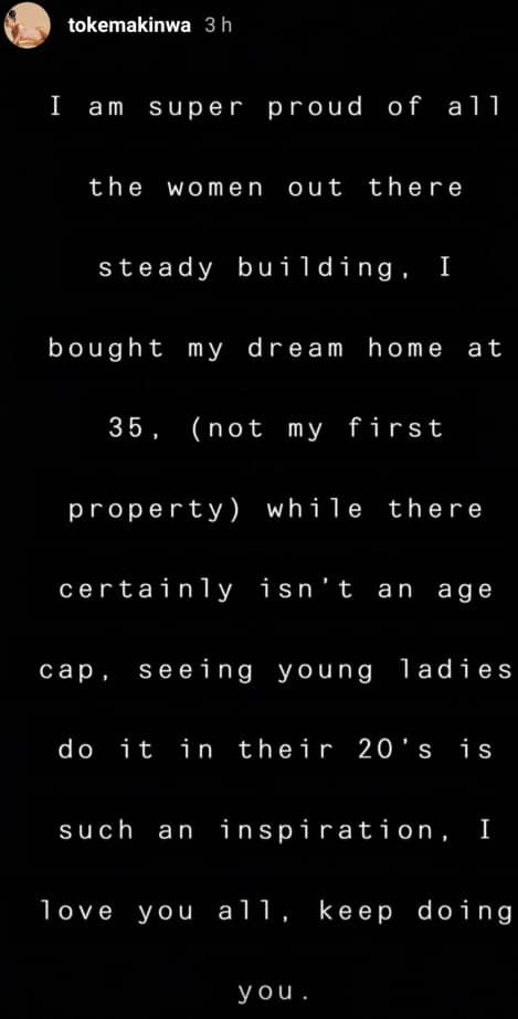 I bought my dream home at 35- Toke Makinwa says as she advises women to seek financial freedom